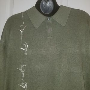 Men Olive Green Polo Style Light Sweater Shirt